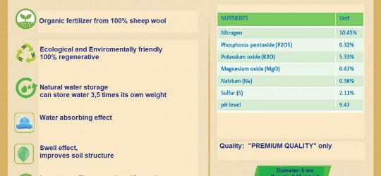 Ургамалд хэрэгтэй тэжээллэг бодисоор баялаг, цэвэр Монгол хонины ноосноос Герман эрдэмтдийн гаргаж авсан бордоо